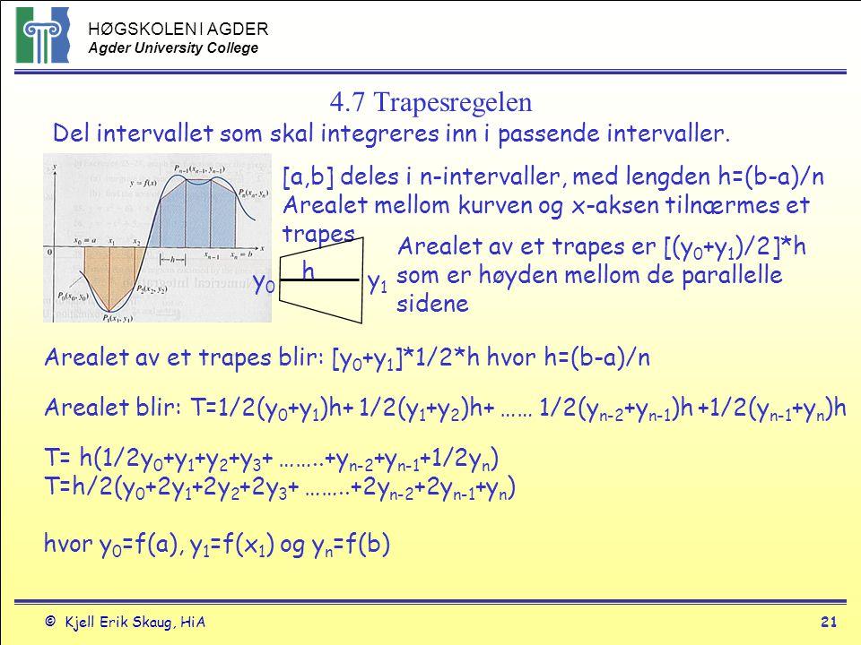 4.7 Trapesregelen Del intervallet som skal integreres inn i passende intervaller. [a,b] deles i n-intervaller, med lengden h=(b-a)/n.